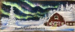 The image for Red Barn Winter Night Wine and Paint Deposit. $30 due at class ($45 total)